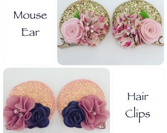 Mouse Ear Hair Clips, Pig Tail Clips, Baby Clip, Birthday Party Favor, Cruise Bow