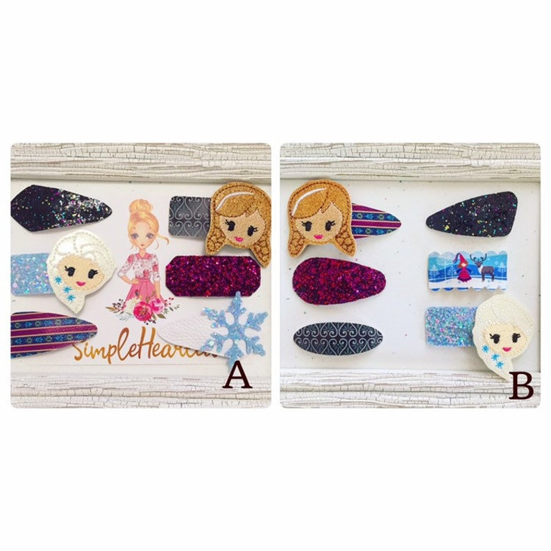 Ice Princess Glitter Covered Snap Clips with Felties Bows image 0