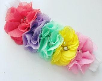 Rainbow Baby Headband   Pastel Flower Headband   Baby Headband   Newborn Headband   Nylon Headband   Flower Headband   Rainbow Floral Crown