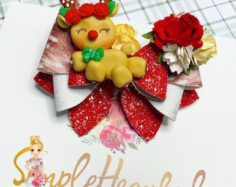 Christmas Reindeer Glitter Hair Bow Clip: Handmade Clay Center, Santa's Sleigh, Holiday Floral, Faux Leather, OTT Over the Top Deluxe
