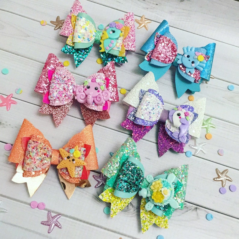 Under the Sea Hair Bow Clips: OTT Over the Top Hair-bows  Set of all 6