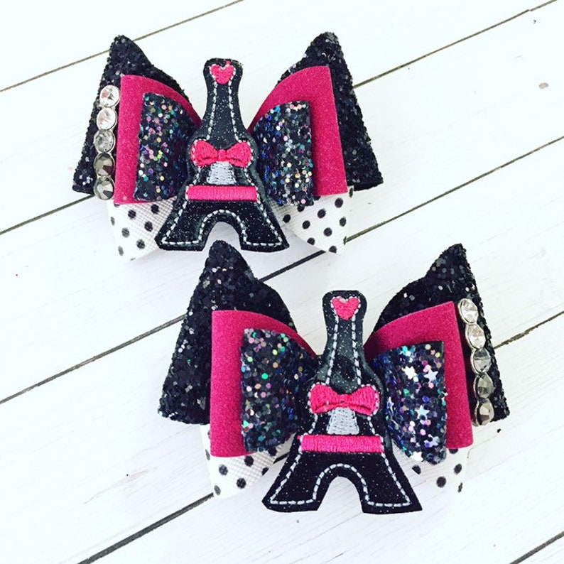 Paris Eiffel Tower Hair Bow Clips: OTT Over the Top Pigtail image 0