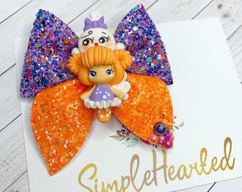 Halloween Hair Bow Clip/ Glitter Faux Leather Bow/ Spooky Hair Clip/ Halloween Hair Accessories/ Fall Hair Bow/ Thanksgiving Bow/ Pig Tails
