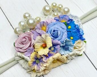 Newborn Floral Headband, Mini Baby Flower Crown, Ombre Boho Headpiece, Halo Nylon Tieback, Fall Neutral, Flower Girl, Toddler Hair Clip
