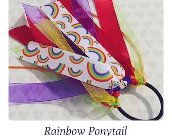 Rainbow Hair Bow Ponytail Holder: Ribbon Hair Streamer + Magical Rainbow Print + Birthday Party Favor + Girl Hair Bow + Aqua & Purple