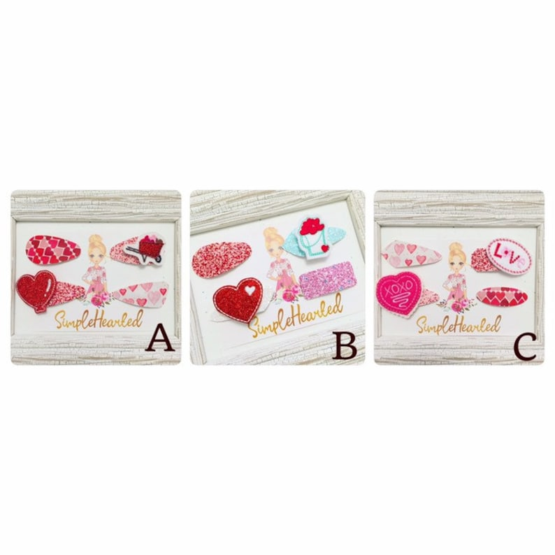 Valentine Glitter Covered Snap Clips with Felties Bows image 0
