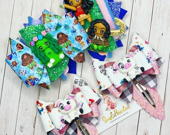 Island Princess and Friends Characters, Hair Bow on Glitter Headband and Snap Clip Set, Piggy Pigtail Set, Handmade Clay Centerpiece