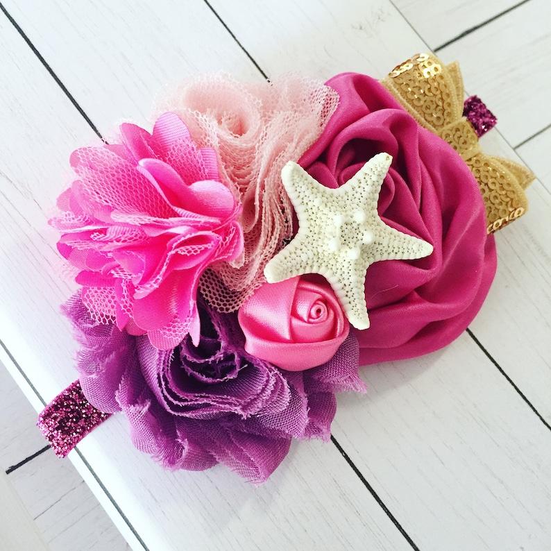 Custom Mermaid Headband Starfish Headband Festival Headband image 0