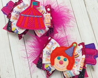 Circus Hair Bow Clips, Under the Big Top, Clown : OTT Over the Top Pigtail Set