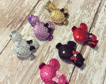 Sequin Mouse Ear Hair Clips with Mini Bows: Set of 6