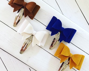 Suede Bow Snap Clips, Set of 4