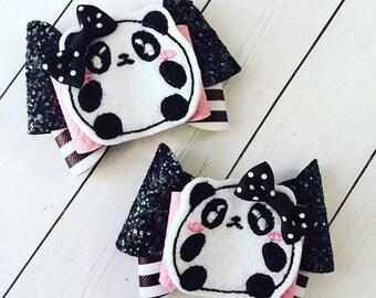 Panda Bear Hair Bow Clips: OTT Over the Top Pigtail Set