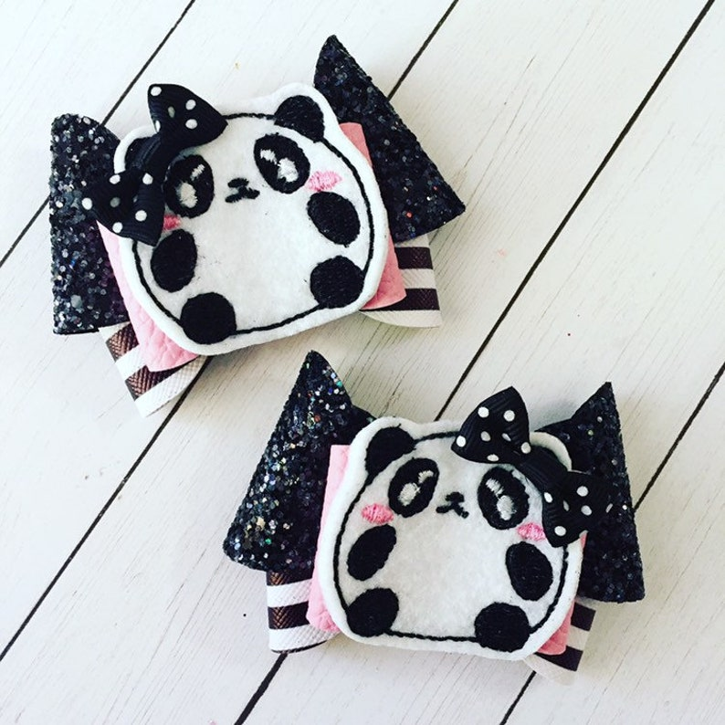 Panda Bear Hair Bow Clips: OTT Over the Top Pigtail Set image 0
