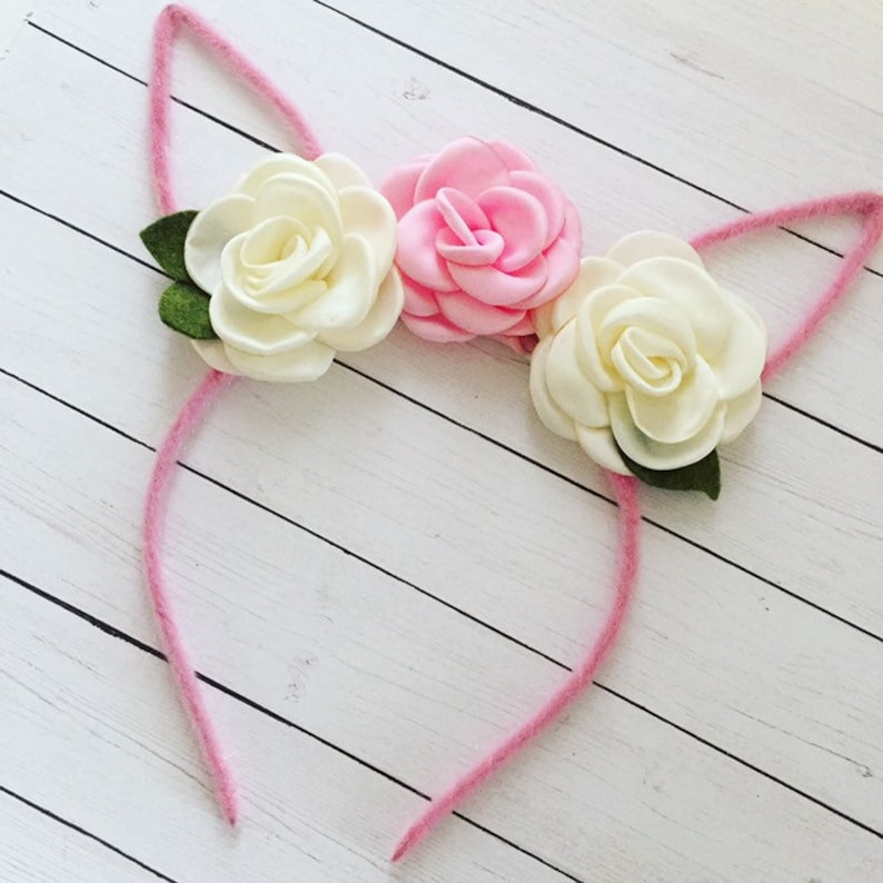 Bunny Ear Headband for Easter Photo Prop  Bunny Rabbit Flower image 0