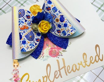 Hanukkah Faux Leather Hair Bow Clip: Jewish Faith Holiday, Menorah, Floral Center, Glitter and Faux Leather, OTT Over the Top Deluxe