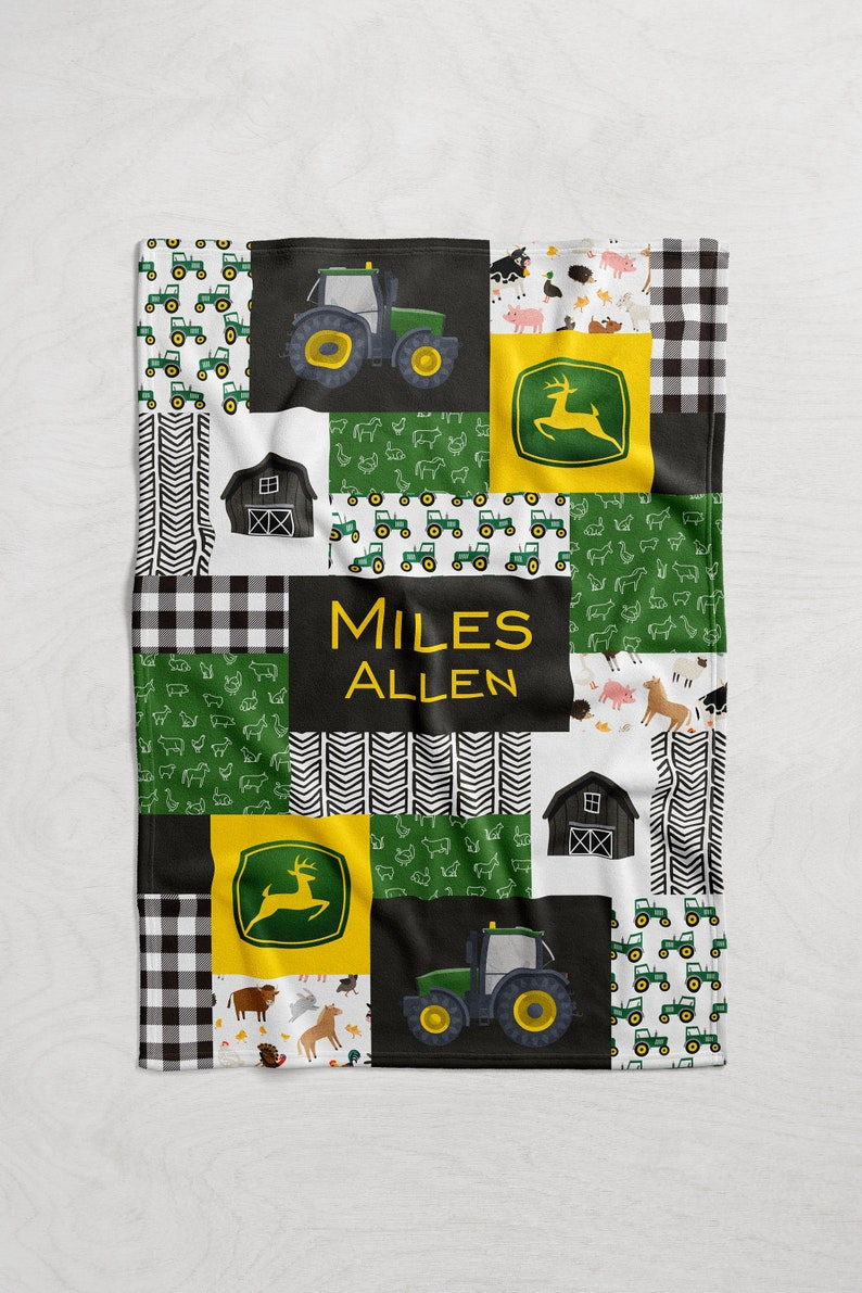 Personalized Tractor / Farming Baby Name Blanket