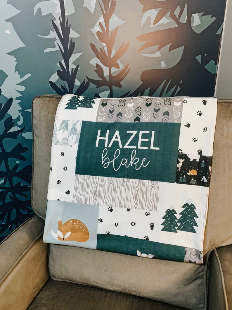 Personalized Fox /& Deer Baby Name Blanket Personalized Quilt Style Blanket Minky or Fleece Winter Woodland  Mountain Animal Theme