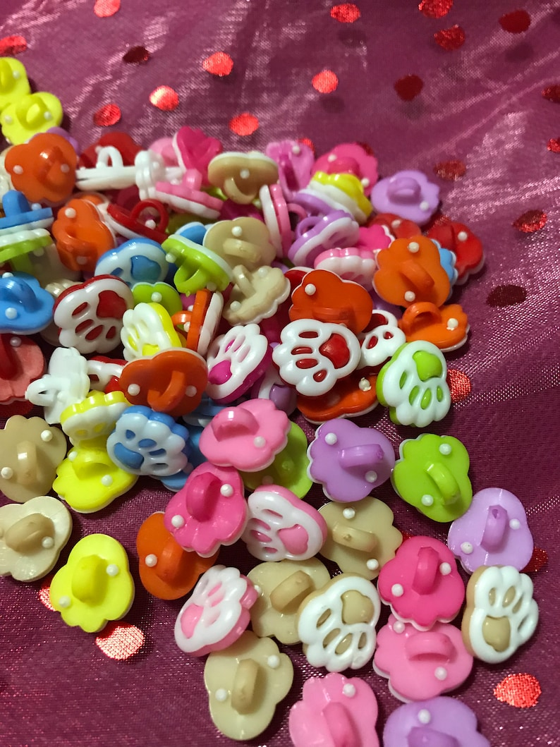 Baby Foot  Multicolor Plastic Novelty Buttons// DIY Sewing supplies//20 Pieces