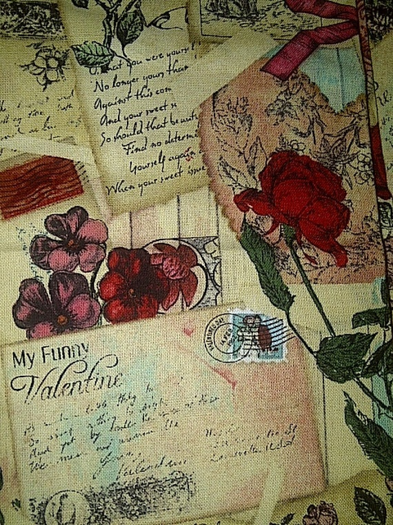 Robe Vintage Valentine Post Cards Cotton Fabric Sewing Craft Etsy
