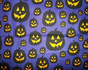 Pumpkin Parade Cotton Grape Fabric/Halloween Sewing Supplies/Sewing Craft Supplies /Home Decor/ Quilting/Seasonal Print Fabric/Doll making