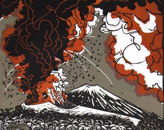 Linocut Poster: Volcanoes