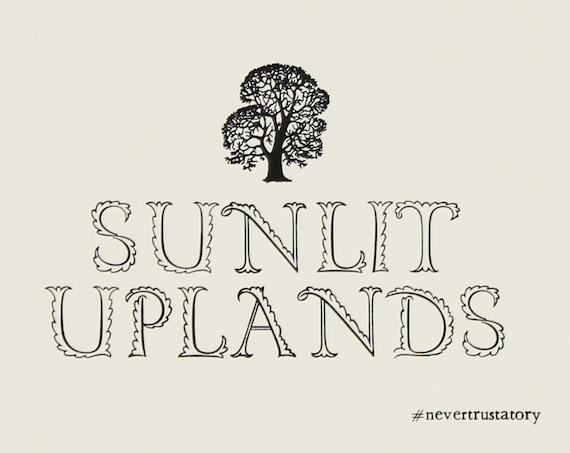 Letterpress postcard: Sunlit Uplands