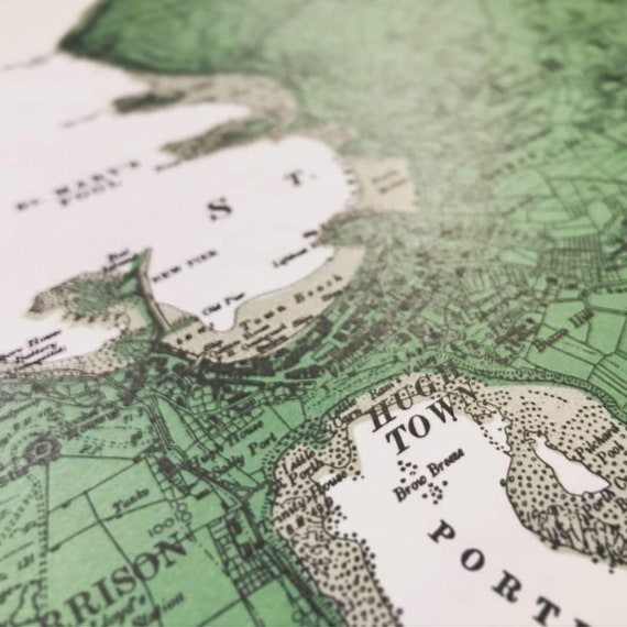Hand-Printed Map of St. Mary's, Isles of Scilly