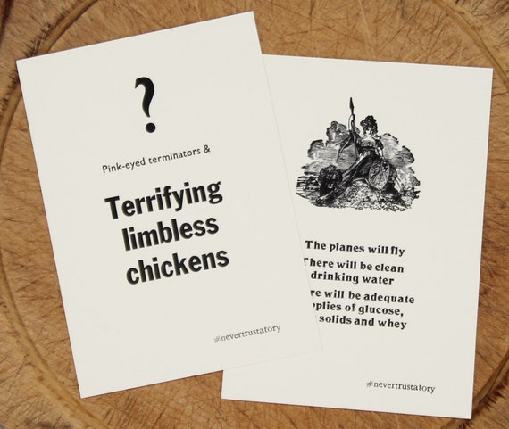 Letterpress postcards: Limbless Chickens & Planes Will Fly set