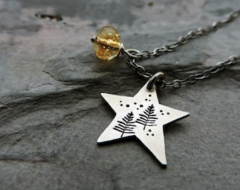 4e5b8b7d30f548 Petite Sterling Silver Star Shape Pine Tree Necklace with Wire Wrapped  Yellow Citrine Gemstone - Celestial Nature Inspired Jewelry