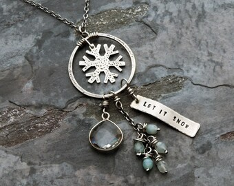 Snowflake Charm Necklace - Sterling Silver Textured Ring with Let It Snow  Stamped Tag fd206a0a513e3