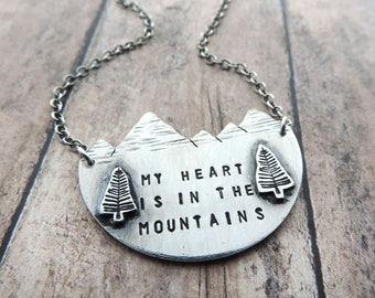 9af785c12c4c4b Sterling Silver Mountain and Pine Tree Necklace Stamped My Heart is in the  Mountains - Jewelry Gift for Hiker and Nature Lover
