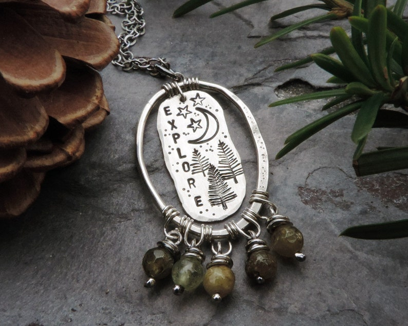 Explore Nature Necklace Stamped with Pine Trees Moon and image 0