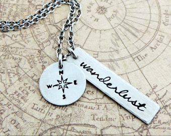 Sterling Silver Travel Necklace - Wanderlust Necklace - Compass Necklace - Travel Jewelry - Travel Gift - Gift for Travelers