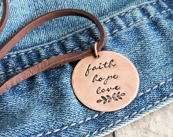 Faith Hope Love Christian Necklace - Scripture Jewelry - 1 Corinthians 13 - Inspirational Bible Verse Necklace