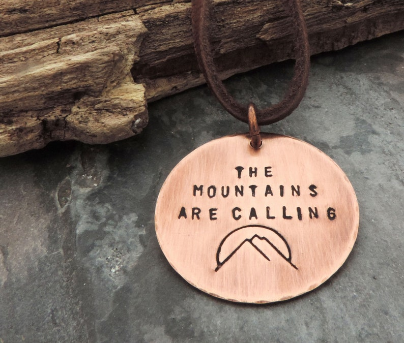 The Mountains are Calling Copper Pendant Necklace Stamped John image 0