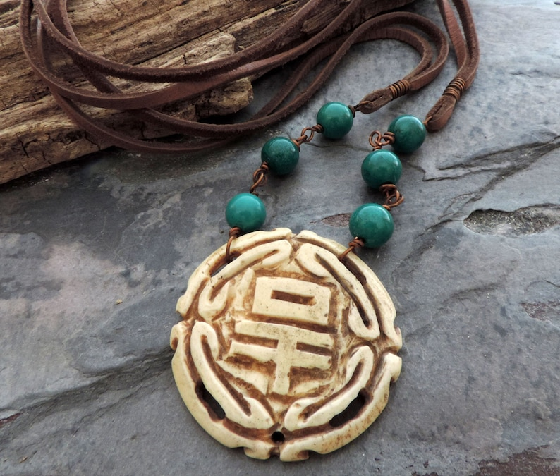 Boho Necklace with Carved Bone Medallion Turquoise Beads and image 0