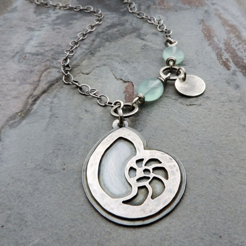 Nautilus Seashell Spiral Sterling Silver Pendant Necklace with image 0