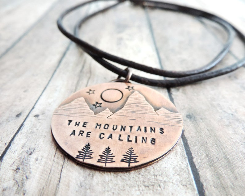 The Mountains are Calling Mountain Copper Necklace with Full image 0