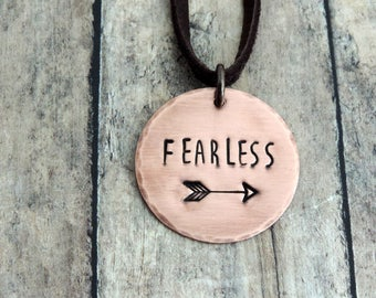 Fearless Necklace - Brave Necklace - Stamped Jewelry - Strong Woman - Brave Jewelry - Word Jewelry - Arrow Necklace
