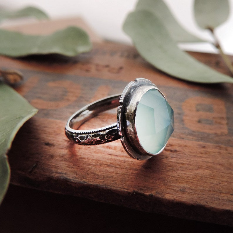 Faceted Aqua Chalcedony Sterling Silver Ring with Decorative image 0