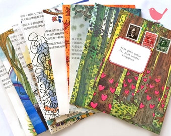 Mini Envie handmade from book upcycled, envelope,  (set of 15) lot 1