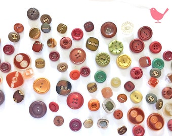 Vintage Button brown and green buttons - over 50 pieces