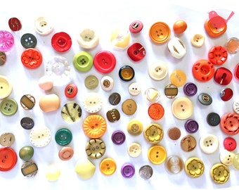 Vintage Button colourful buttons - over 50 pieces