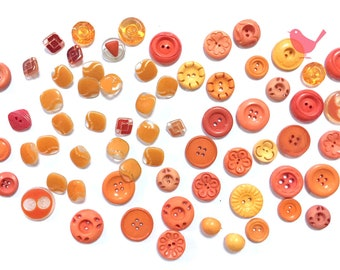Vintage orange buttons 5- over 50 pieces
