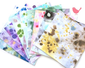 handmade watercolour paper (14cm by 14 cm) -set of 10
