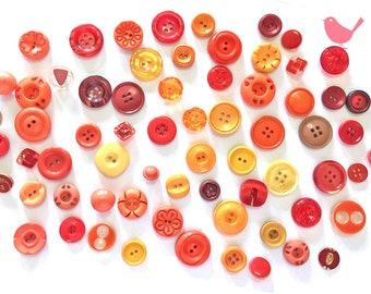 Vintage Button orange buttons - over 50 pieces
