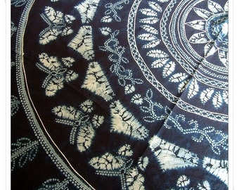 Tie Dye Cotton Tapestry/Round Table Cloth/Home Decor -Butterfly and Flower Ring- blue -big round 77.2inch
