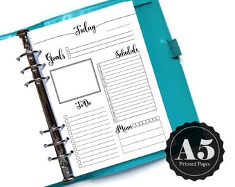 Printed Daily Planner Insert - A5 Planner Pages - Calligraphy Script - ToDos - DO1P Day on One Page - Today Insert Refills