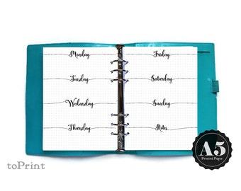 Imprimé hebdomadaire planificateur Inserts - A5 - Script calligraphie - Bullet Journal étendre avec grilles - mise en page horizontale semaine non daté Wo2P - BuJo