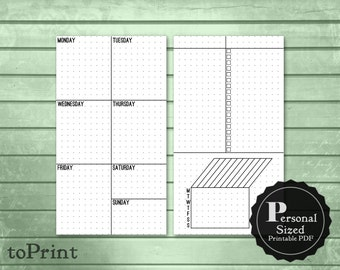 Weekly Lists & Boxes Planner Inserts - Personal Printable Planner - Bullet Journal Inspired - Blank, Square, Dot Grids - Undated Layout Wo2P